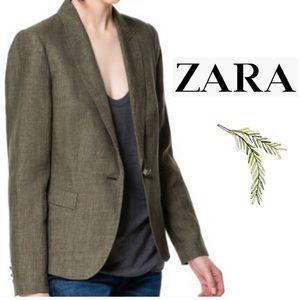 Zara Basic 100% Linen army green lined blazer XL